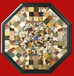 30 Marble Coffee Table Top Pietra Dura Marquetry Inlay With Marble Stand