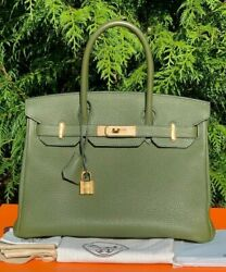 HERMES BIRKIN Bag 30cm TOGO Leather *CANOPEE* Perfect Green Army Olive Vert GHW!