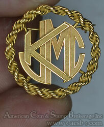Love Token Kjmc Cut Out In Rope Border Gold Brooch Pin 6.2g 14k Well Made