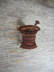 Antique Gold Filled Gf And Black Enamel Mortar And Pestle Lapel Pin