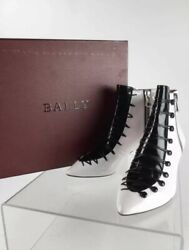 Brand New W/receipt 1150 Bally Mellody White And Black Ankle Boots / Booties 10