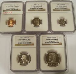 1992-s Proof69 Ultra Cameo Ngc Set One Cent,nickel,dime,quarter And Half Set118