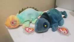 Iggy and Rainbow Ty beanie babies with wrong tags and no tongue!