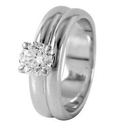 18kt White Gold Diamold Solitaire Wedding Ring Size 5 L521