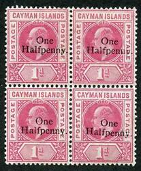 Cayman Is Sg17 Kevii One Halfpenny On 1d Carmine M/m Block Of Four