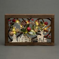 Christmas LED Pre-Lit Wooden 3D Rectangle Frame Xmas Party Gifts Home Decoration