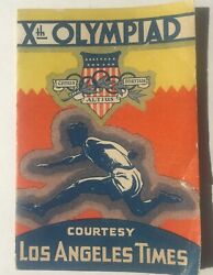1932 La Olympics Pocket Schedule Courtesy Of Los Angeles Times