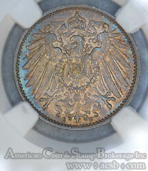 Germany 1 Mark 1914 E Ms65 Ngc Silver Km14 Color Rainbow Obverse Blue Rev