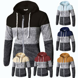 Mens Warm Hoodie Hooded Sweatshirt Zip Coat Jacket Outwear Jumper Winter Sweater