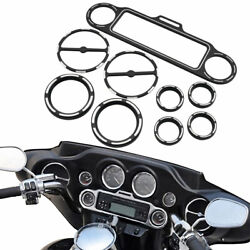 9pcs Black Guage Accent Speedometer Speaker Cover Trim Ring For Harley 1996-2013