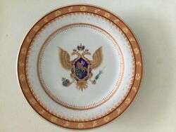Antique Russian Imperial Dinner Oval Plate From The Imperial Eagle Service