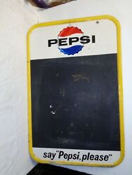 Vintage Pepsi Tin Metal Advertising Chalkboard Soda Sign By Stout Sign Of St. L