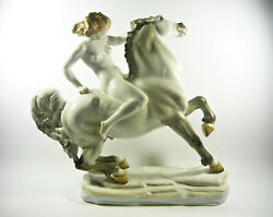 Herend Nude Riding A Horse Xxl Handpainted Porcelain Figurine P124