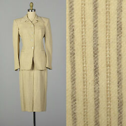 S 1940s Cream Skirt Suit Pinstriped Blazer Wool Two Piece Set Ivory Wwii 40s Vtg