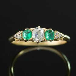 Antique Victorian .47 Ct Diamond And .27 Ct Natural Emerald Three 3 Stone Ring