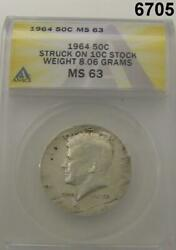 1964 KENNEDY HALF STRUCK ON DIME STOCK WEIGHT 8.06 G NORMAL 11.50 G RARE! #6705