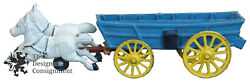 Antique Cast Iron Two Horse Light Blue Conestoga Covered Wagon Toy Old West