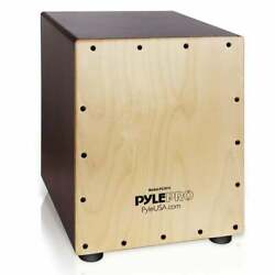 Pyle Stringed Birch Wood Compact Acoustic Jam Cajon Wooden Brown