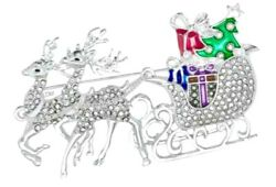 Napier Christmas Sleigh Sled Gifts Reindeer Tree Brooch Pin Silver Tone NEW Box