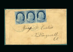 Us Stamp Used Vf S9 Strip Of 3 Tied By West Meriden Conn. Cancels On Cover