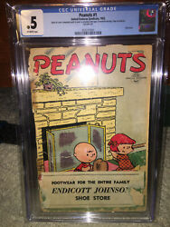 Peanuts 1 Cgc 0.5 United Feature 1953 Rare Charlie Brown See Scan K10 201 Cm