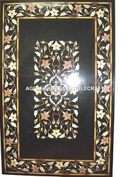 Black Marble Dining Table Top Marquetry Handmade Home Decor Mosaic Arts H1204