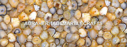 Marble Kitchen Table Top Yellow Agate Semi Precious Stones Outdoor Decor H5608