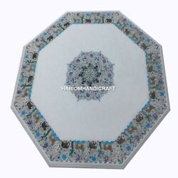 White Marble Dining Table Top Mosaic Animals Inlay Arts Room Decorative Home Art