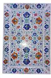 12x18 Marble Kitchen Tray Plate Fine Floral Multi Marquetry Inlaid Gifts Decor