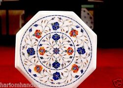 12 White Marble Coffee Table Top Halloween Gem Lapis Inlay Garden Decorate H629