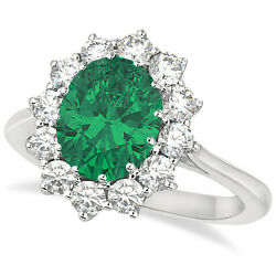 3.60ctw Princess Kate Oval Emerald And Diamond Statement Ring 14k White Gold