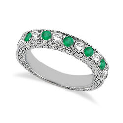 1.03ct Antique Genuine Diamond And Emerald Wedding Ring Band 14k White Gold