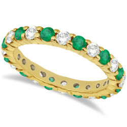 2.35ct Stackable Eternity Diamond And Emerald Ring Wedding Band 14k Yellow Gold