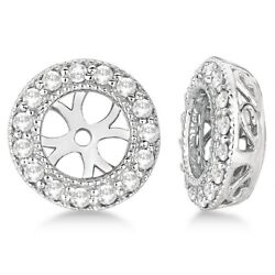 0.34ct Antique Inspired Vintage Round Cut Diamond Earring Jackets 14k White Gold