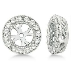 0.22ct Antique Inspired Vintage Round Cut Diamond Earring Jackets 14k White Gold