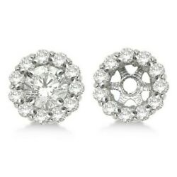 0.80ct Ladies Diamond Earring Jackets For Studs 6mm 14k White Gold Halo