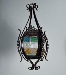 French Antique Iron And Stained Glass Hanging Chandelier/lamp W/hinged Door