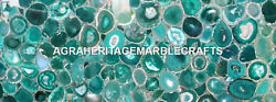 Restaurant Decor Marble Exclusive Table Dining Top Green Agate Stone Decor H5581