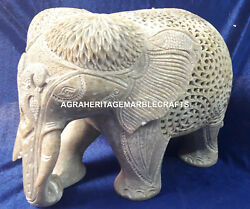 7 Handcarved Marble Standing Elephant Statue Intregrate Soapstone Decor H4221