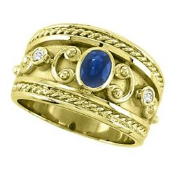 0.73ct Antique Blue Sapphire And Diamond Byzantine Ring In 14k Yellow Gold Womenand039s