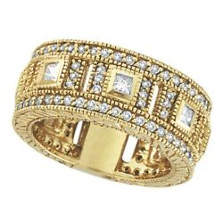 1.72ct Antique Round And Princess Cut Eternity Diamond Byzantine Ring 14k Y Gold