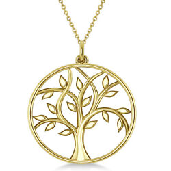 Womenand039s Tree Of Life Pendant Necklace Plain Metal 14k Yellow Gold
