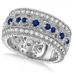 1.37ct Luxury Antique Diamond And Blue Sapphire Byzantine Ring In 14k White Gold
