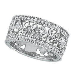 0.66ct Antique Style Diamond Wide Band Eternity Ring 14k White Gold Milgrain