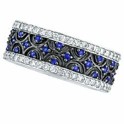 1.23ct Blue Sapphire And Diamond Eternity Wide Band Fancy Ring 14k White Gold