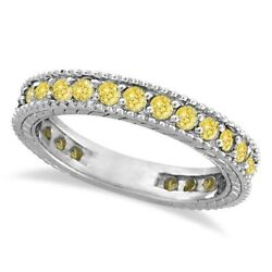 1.00ct Fancy Yellow Canary Diamond Right Hand Eternity Ring Band 14k White Gold
