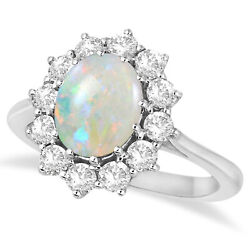 Womenand039s Oval Shape Opal And Diamond Accented Ring In 14k White Gold 3.60ctw
