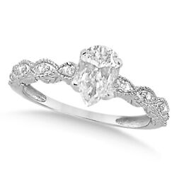 Womenand039s Pear-cut Antique Diamond Engagement Ring In 14k White Gold 0.50ct