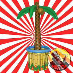 X2 Two 170cm Inflatable Palm Tree Drinks Beer Cooler Bbq Hawaiian Pool Party