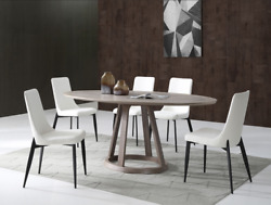 Whiteline Florence Oval Dining Table In Gray Oak Dt1636o-w79 D39 H30